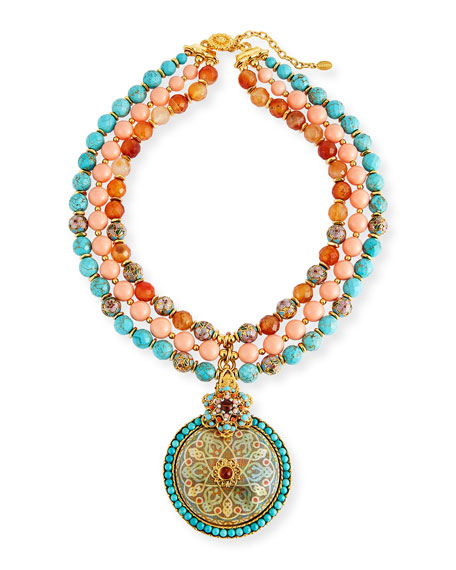 Three-Strand Beaded Medallion Pendant Necklace
