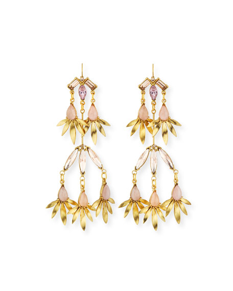 Sequin Tiered Pink Crystal Statement Earrings