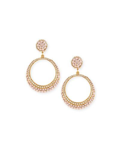 Pink Opal Cabochon Hoop Drop Clip-On Earrings