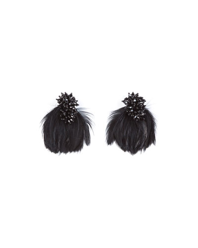 Mini Delaney Bead & Feather Drop Earrings
