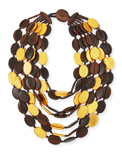 Multi-Strand Golden Wood Necklace