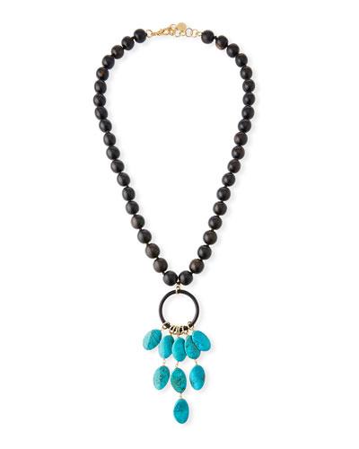 Ebony Wood Long Beaded Necklace