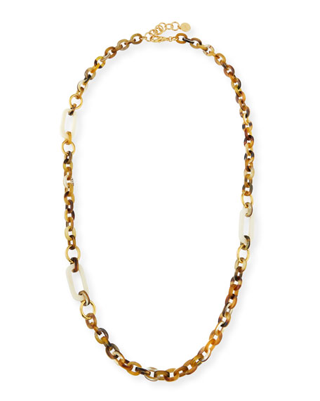 """NEST Jewelry Horn Link Necklace w/ Bone & Golden Accents, 36"""""""