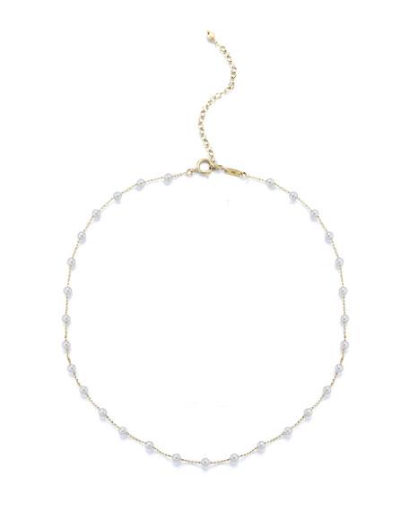 Mizuki 14k Pearl Station Chain Choker Necklace