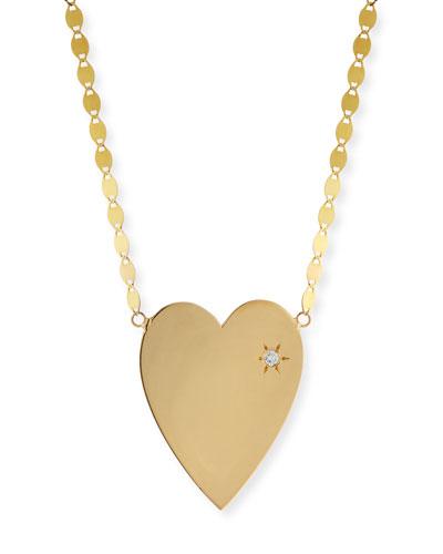 14k Large Heart Pendant Necklace w/ White Diamond
