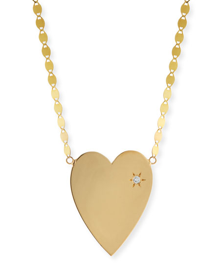 14k Large Heart Pendant Necklace w/ White Diamond