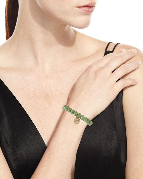 Green Silverite Beaded Bracelet with Diamond Smiley Charm