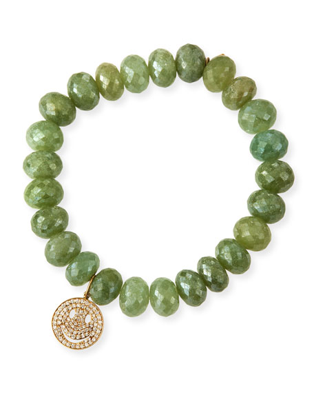 Green Silverite Beaded Bracelet with Diamond Smiley Charm