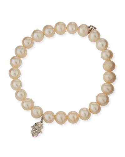 Beaded Pearl Bracelet with Diamond Hamsa Charm