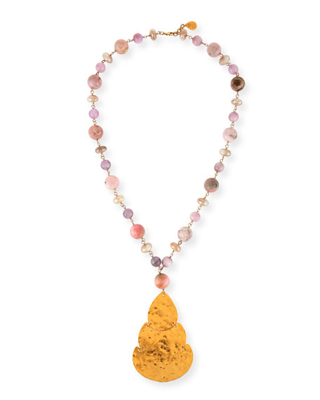 Devon Leigh Long Pink Opal & Moonstone Beaded