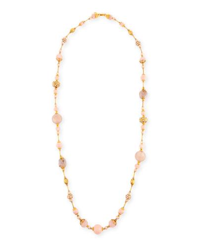 Mixed Rose Quartz & Crystal Pavé Long Beaded Necklace