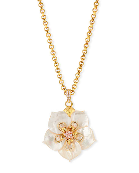 White Crystal Flower Pendant Necklace