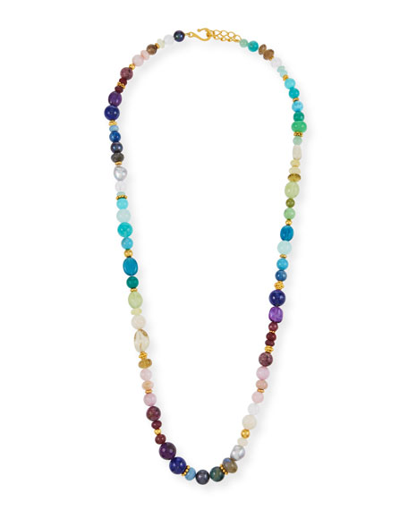 Long Rainbow Beaded Necklace, 36""