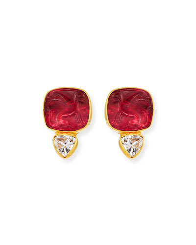 Italian Glass & Topaz Stud Earrings