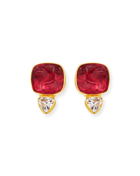 Dina Mackney Italian Glass & Topaz Stud Earrings