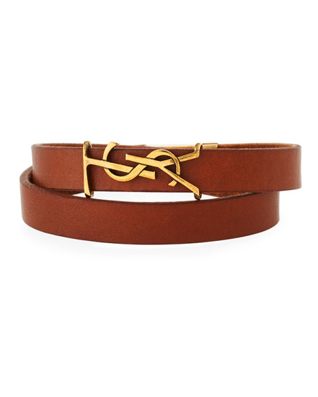 Saint Laurent Leather Double-Wrap Bracelet, Brown