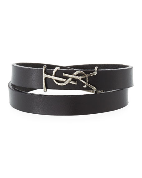 Saint Laurent Leather Double-Wrap Bracelet