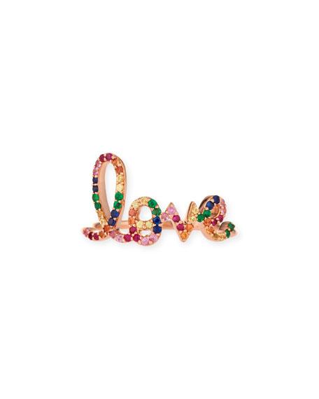 14k Large Rainbow Sapphire Love Ring