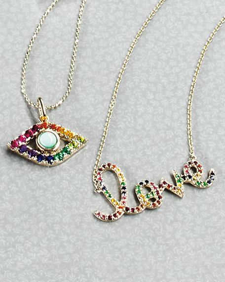 Evil Eye Rainbow Sapphire Pendant Necklace