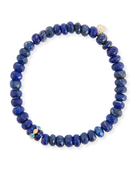 8mm Lapis Beaded Bracelet with Turquoise & Diamond Bezel Station