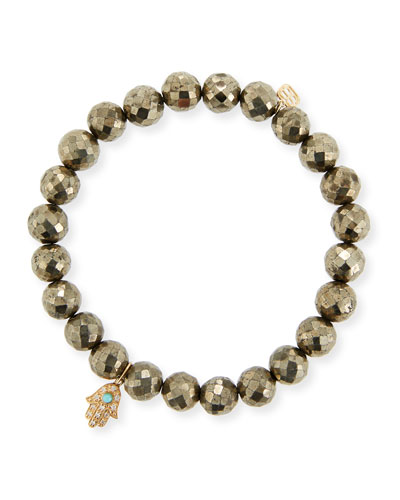 8mm Champagne Pyrite Beaded Bracelet with Diamond & Turquoise Hamsa