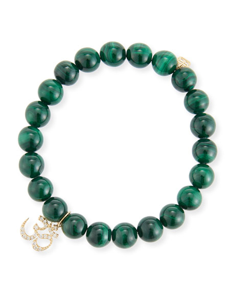 8mm Malachite Beaded Bracelet with Diamond Om Charm