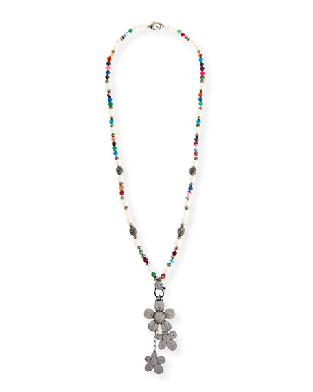 Image 1 of 3: Hipchik Camellia Long Beaded Charm Necklace