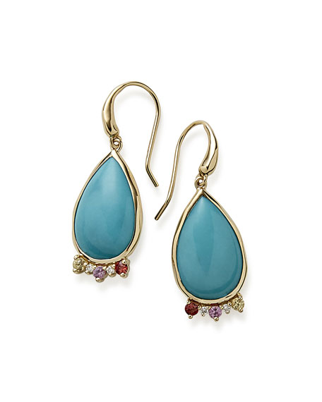 Ippolita Prisma Dots Turquoise Teardrop Earrings with Sapphire