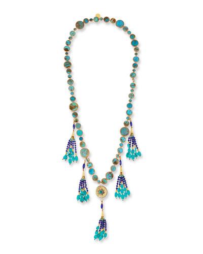 Long Turquoise & Lapis Tassel Necklace