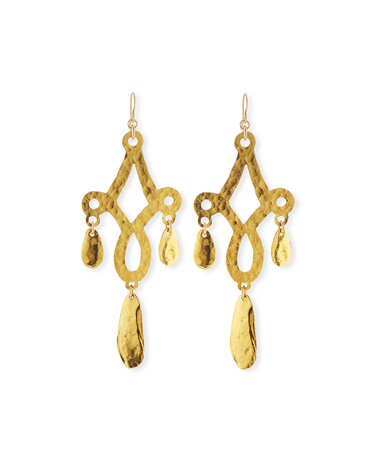 Devon Leigh Hammered Three-Drop Earrings, Gold