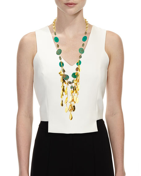 Devon Leigh Mixed Turquoise & Leaf Bib Necklace