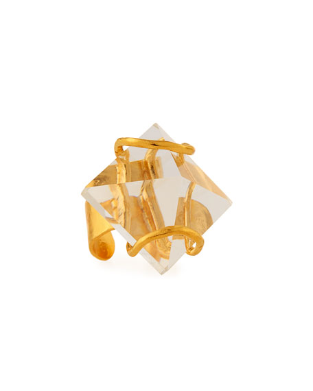 Image 1 of 2: Devon Leigh Adjustable Quartz Pyramid Ring