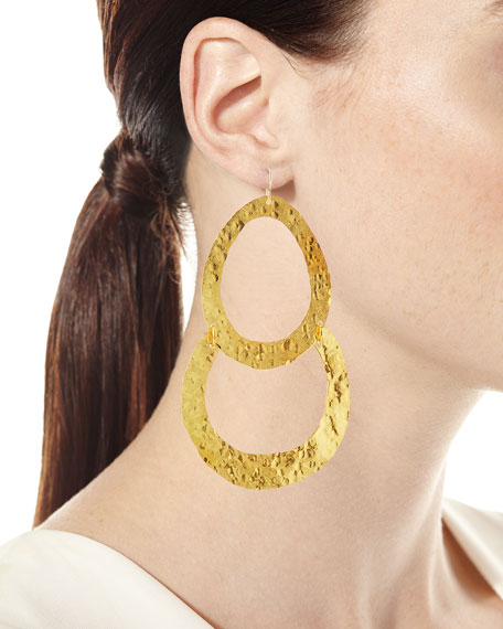 Double Wedge Hammered Drop Earrings