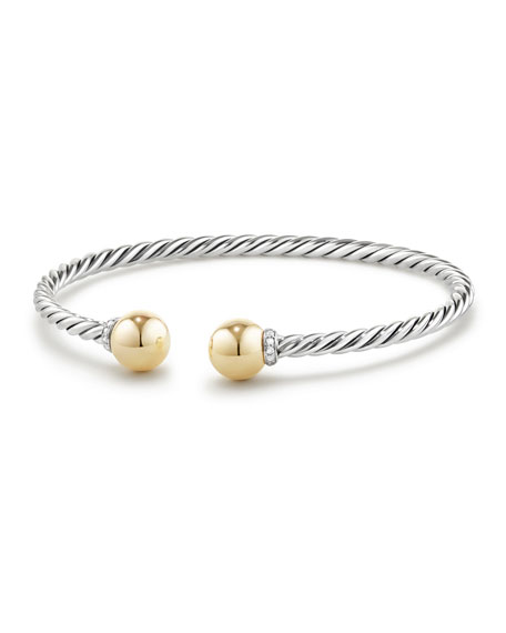 David Yurman Solari Bead Open Bangle w/ Diamonds