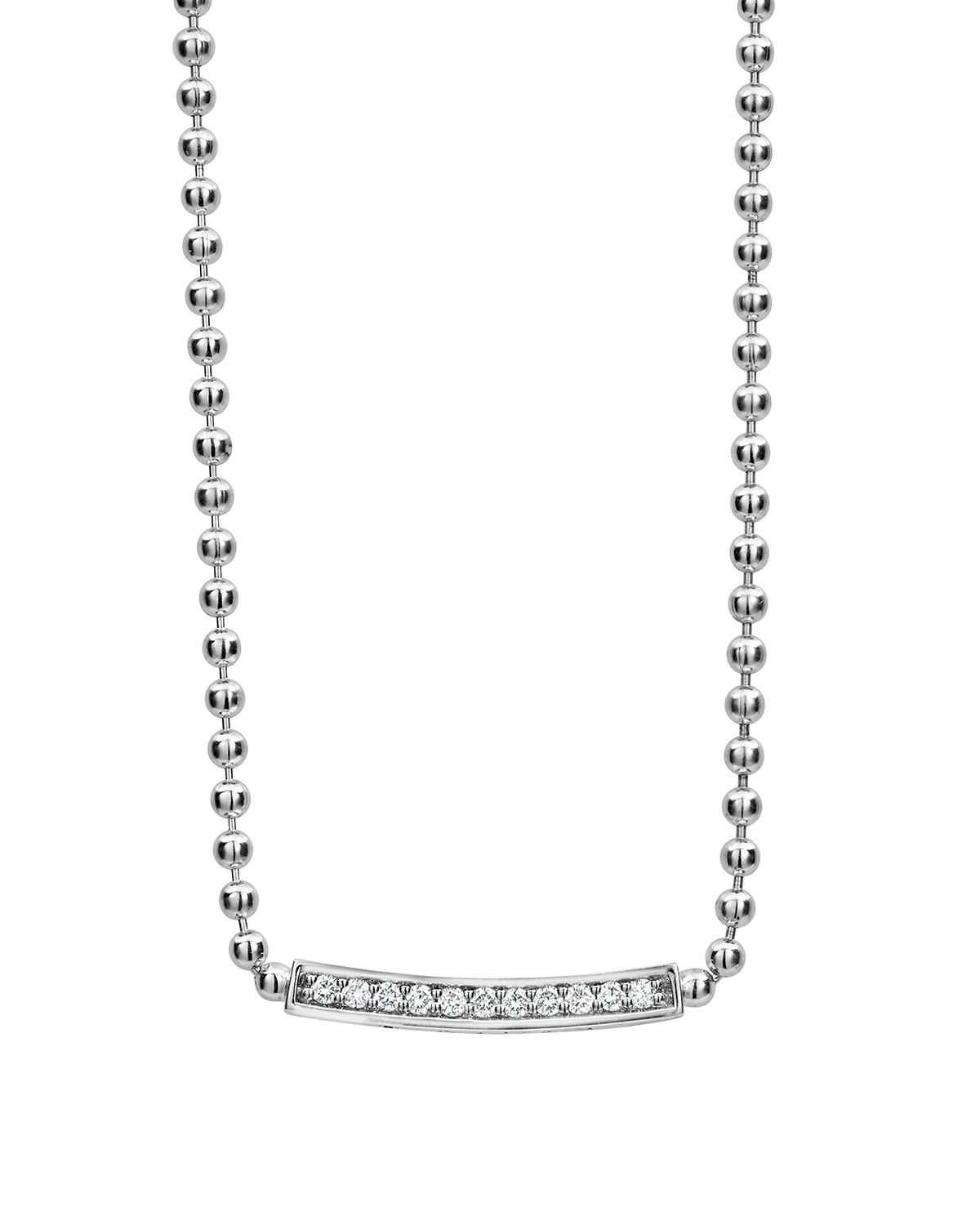 Lagos Caviar Spark Diamond Ball-Chain Necklace, 0.28tcw
