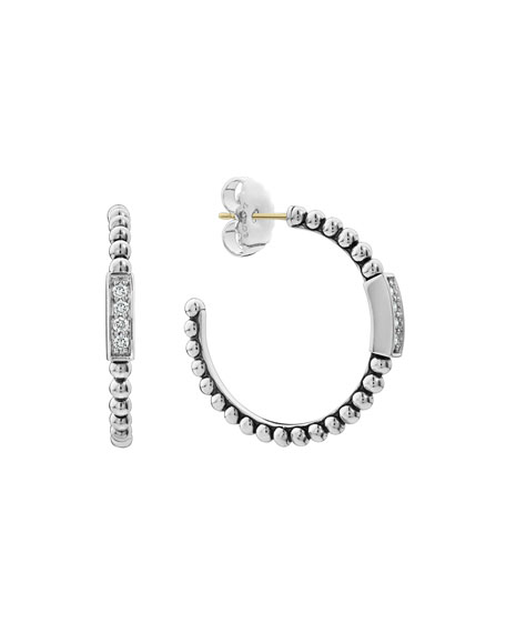 Lagos Caviar?? Spark Diamond Hoop Earrings