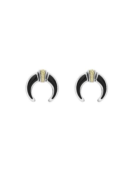 Caviar Bead Onyx Horn Earrings