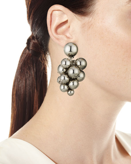 Bold Beaded Cluster Clip-On Earrings