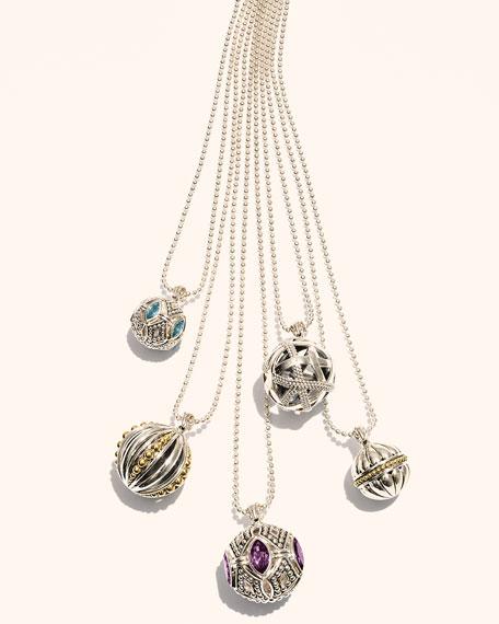 18k Caviar Talisman Vertical Beaded Ball Pendant Necklace