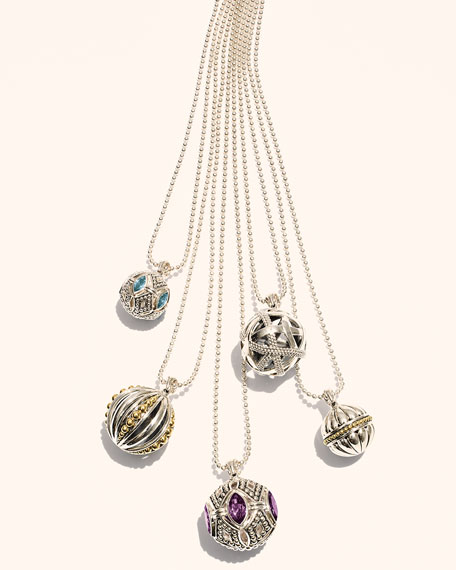 Caviar Talisman Marquise Gemstone Ball Pendant Necklace, 34""