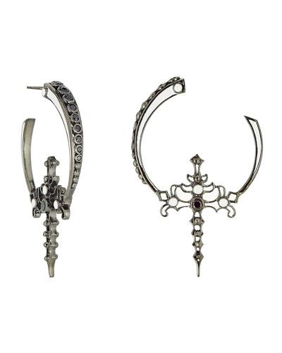 White Enamel & Black Spinel Hoop Earrings