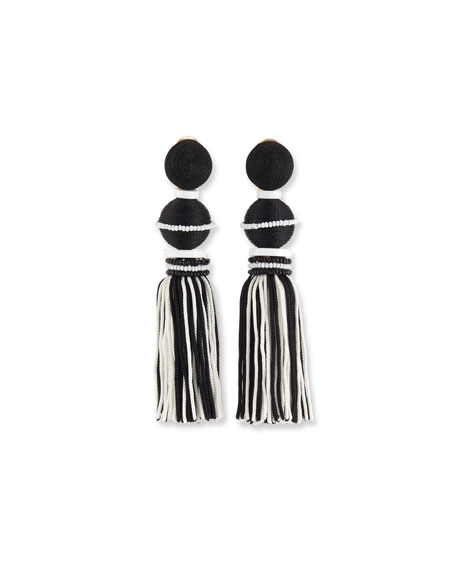 Two-Toned Tassel Drop Clip Earrings