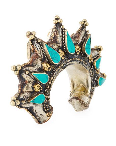 Turquoise Brass Spike Cuff