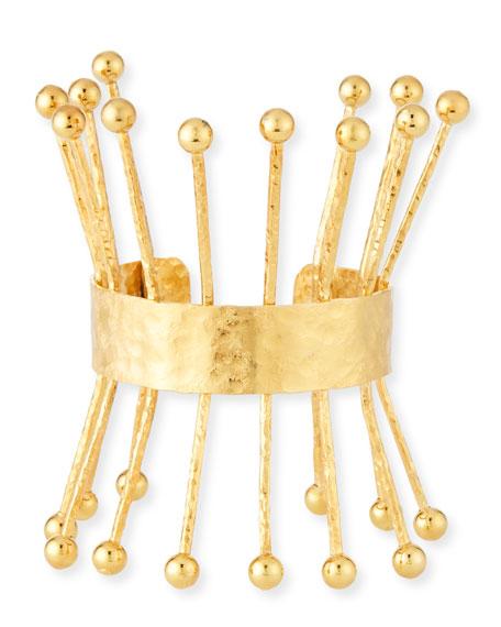 18k Hammered Ball Spike Cuff Bracelet