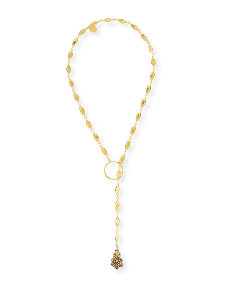 Long Lariat Pendant Necklace, 34""