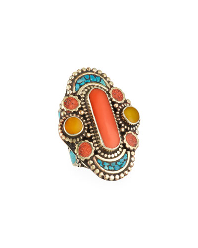 Coral, Turquoise & Jade Ring