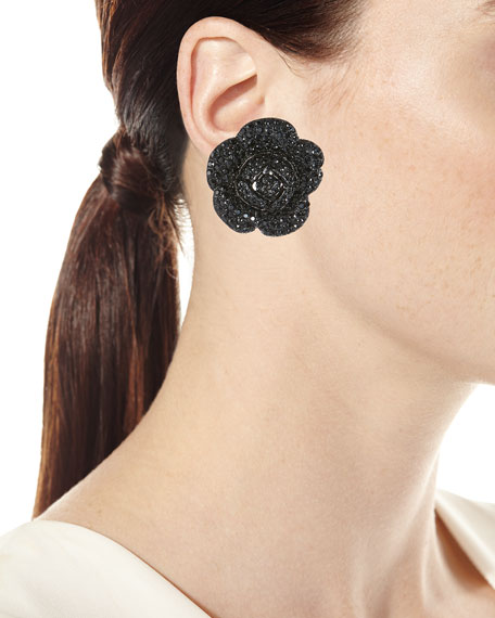 Gardenia Pave Button Clip-On Earrings