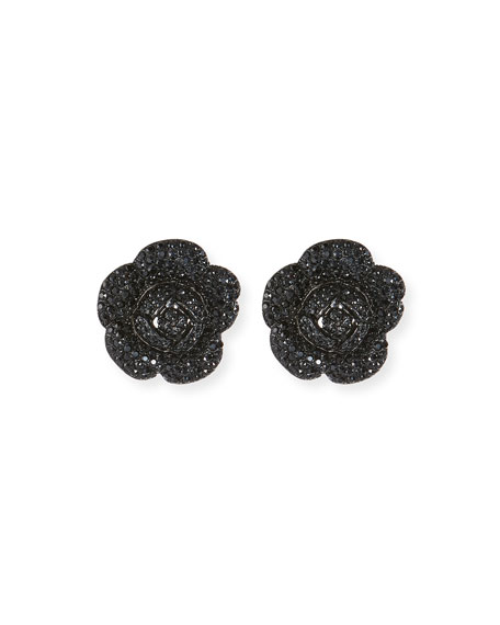 Oscar de la Renta Gardenia Pavé Button Clip-On