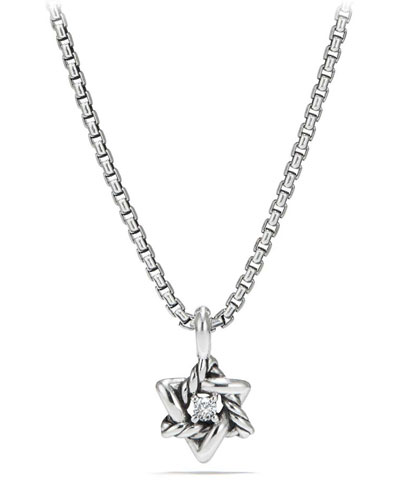 Kid's Cable Collectibles® Silver Star of David Necklace w/ Diamonds