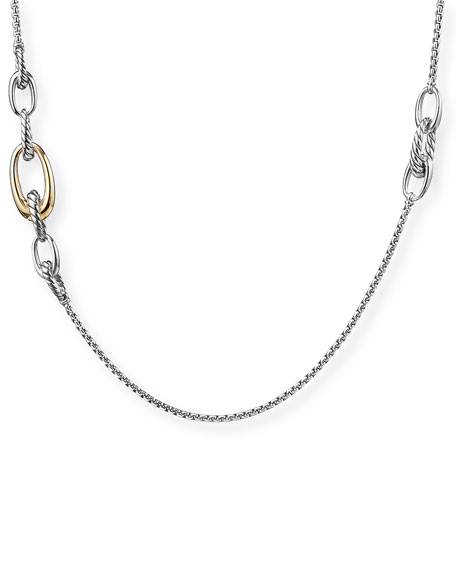 David Yurman Pure Form 2-Tone Graduated Link Station Necklace